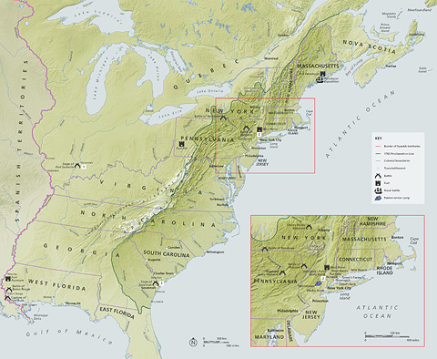 The American War of Independence: A Visual History contains maps by Merritt Cartographic
