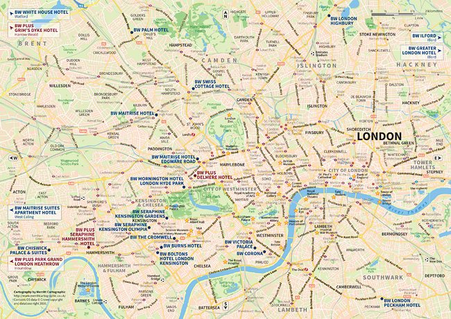 a map highlighting the location of the best western hotels in central london