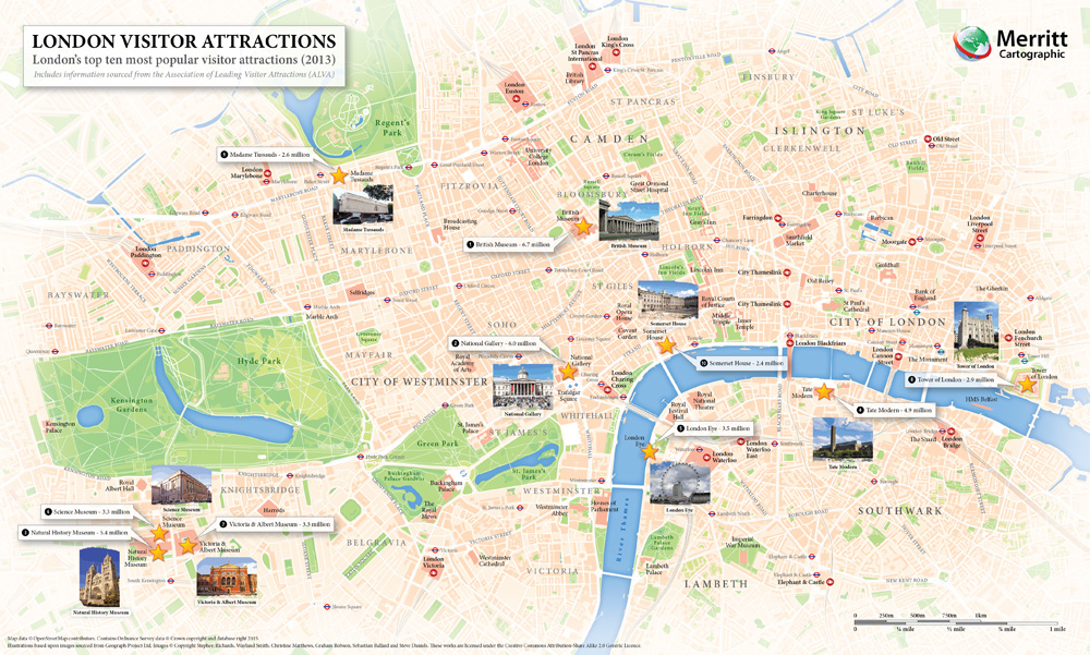 London Visitor Attractions A map highlighting Londons most – London Tourist Maps