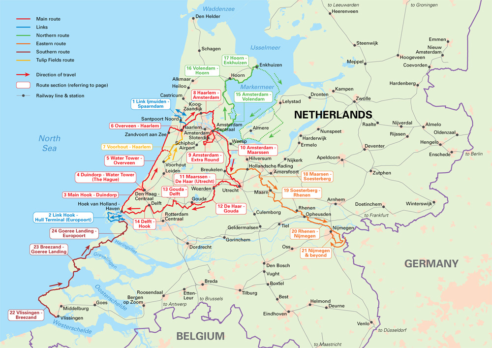 Cycling in the Netherlands  An overview map showing the routes