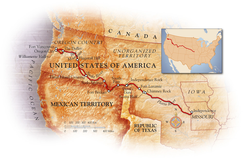 Oregon trail map a stylised map showing this north american oregon trail map a stylised map showing this north american migration route publicscrutiny Image collections