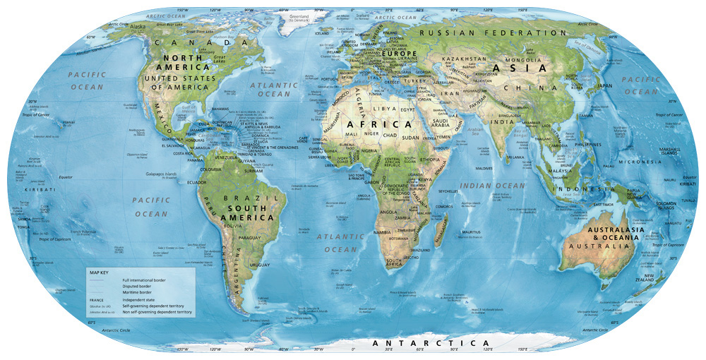 Map Of The World Satellite.Satellite World Map A Reference Map Showing The World S Countries