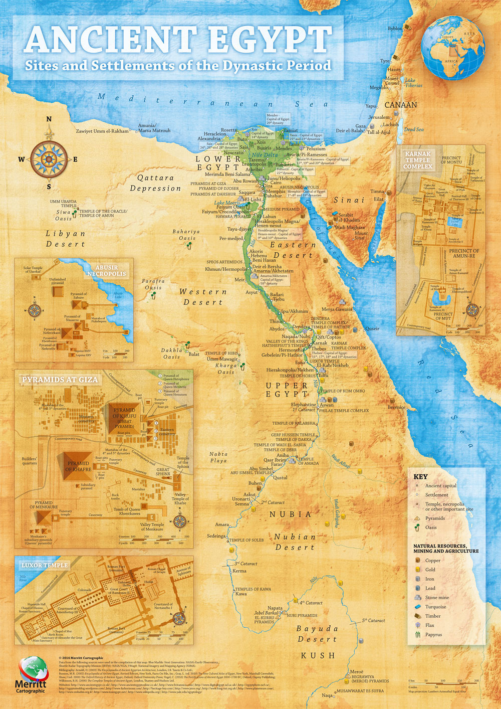Ancient Egypt Map - Illustrative overview map highlighting the main sites and settlements of the Ancient Egyptian civilisation