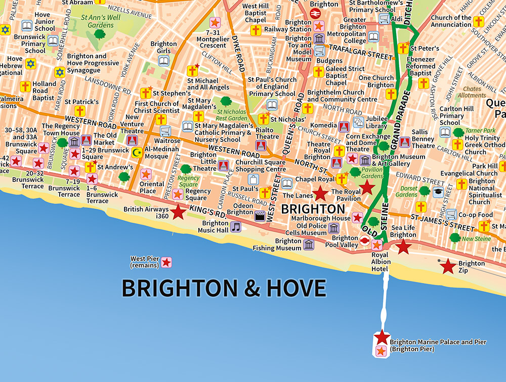Map Of Brighton Brighton & Hove   A map of Brighton, customised to show specific  Map Of Brighton